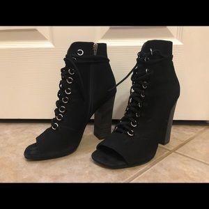 Steve Madden Lace-Up Black Suede Heels